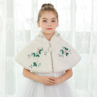 Wholesale Chinese Fashion Belts - 2018 Cony Hair Ivory Flower Girl Dress Accessories With Flowers Warm Girls Capes & Jackets In Stock