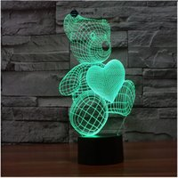 ingrosso orsi di orsacchiotto di notte-Teddy bear Touch Senor novità 3D LED luce notturna per bady room comodino creativo regalo di compleanno abajur luminarias
