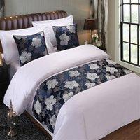 ingrosso biancheria da letto floreale blu-Home Decor Hotel Floral copriletto Blue Flower Double Layer Bed Runner Throw Bedding Single Queen Copridivano