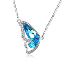 Wholesale Butterfly Wing Pendant Necklace - New Fashion Necklaces Crystal rhinestone Diamonds Butterfly Wing Link Chain Pendant Statement Charm Necklaces Jewelry Women Gift Accessories