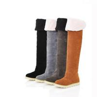 chaud bottes de neige chevalier achat en gros de-2018 femmes sur le genou haute bottes bottes femme hiver neige long chevalier bottes brunes dames de mode flock velours chaud gris chaussures