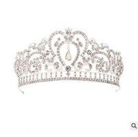 yeni gelin tacı toptan satış-Büyük Prenses Klasik Gelin Headpieces Tiaras Sevimli Kızlar Tiaras Taçlar Tüm Kristal Düğün ve Hediye için Yeni Stil Ücretsiz kargo CPA793