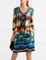Wholesale mini peacock resale online - Fashion Peacock Print Women A Line Dress V Neck Casual Dresses K606