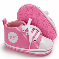 девочка твердым дном обувь оптовых-Classic canvas baby shoes hard bottom infant girls boys sport shoes lace up sneakers 2018 hot sell first walkers for 0-18M