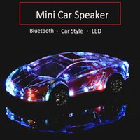 Wholesale car shape mini mp3 player online - Portable Bluetooth Wieless Speaker Colorful Crystal LED Light Mini Car Shape Amplifier Loudspeaker Support TF FM MP3 Music Player MIS184