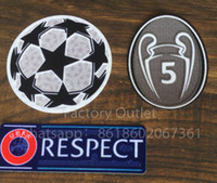 Wholesale football accessories - Top quality Champion League patch soccer patches football ucl respect patch Badges dark grey 5 times top Badges