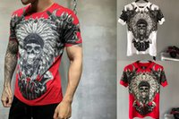 Wholesale plus size clothing skulls online - 2018 Summer Mens Fashion T Shirts ear of wheat Skull Rhinestone Print Brand Clothing Man s Short Sleeve T Shirts Plus Size Tee