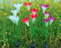 luzes ao ar livre para varanda venda por atacado-Solar Luz Estaca Flor LEVOU Lanterna Decorativa Ao Ar Livre Gramado Jardim Lâmpada 4 Cabeças Bela lâmpada de flor artificial para Varanda Jardim