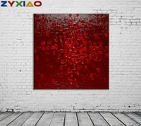 marco de fotos digital cuadrado al por mayor-ZYXIAO Tamaño Grande pintura al óleo moderna Arte abstracto cuadrado rojo Decoración para el Hogar en la lona Arte de La Pared Moderna Sin Marco de Impresión del Cartel de la imagen ys0081