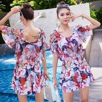 Wholesale plus sized swimwear for women for sale - 2019 New Floral Swimming Suit for Women Beachwear Plus Large Size One Piece Swim Skirt Women Swimwear Bathing Suit Swim Dress
