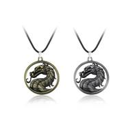 викторианский дракон оптовых-Mortal Kombat ожерелье дракон старинные кулон фильм видео игры ювелирные изделия Мужчины Женщины