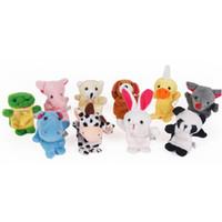 conjunto de fantoches de dedo de bebê venda por atacado-10 Pçs / set Bonito Dos Desenhos Animados Biológico Dedo Animal Puppet Brinquedos De Pelúcia Bonecas Do Favor Do Bebê Da Criança Meninos Meninas Fantoches de Dedo