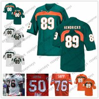 Wholesale kelly green shorts - Miami Hurricanes #12 Jim Kelly 50 Jim Otto 76 Warren Sapp 89 Ted Hendricks Green Vintage Orange White Stitched NCAA college Football Jerseys