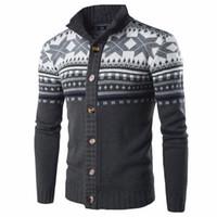 ingrosso maglione lungo del manicotto-Cardigan in maglione lavorato a maglia autunno inverno chic stile etnico Mens bottoni manica lunga giù giacca maglione cappotto maschile maglieria