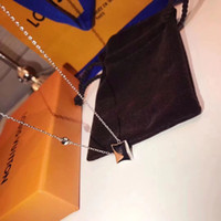 ingrosso donne nere di diamanti-Alta qualità S925 Sterling Silver Rhombus forma con agata natura nera e pendente di diamanti collana di marca per le donne regalo di nozze gioiello