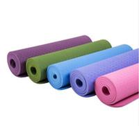 colchoneta de yoga al por mayor-TPE Material Yoga Mat Pad 183 * 61 Con 6 mm Ambiental anti-giro Tasteless Healthy Durable Floor Mat para Fitness Camping Juego