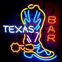 signos de cerveza de texas al por mayor-Nuevo Texas Boot Handcraft Real Glass Beer Bar Tienda Party Decor Neon Signs 24X21