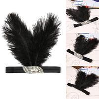 Wholesale black feather headpieces - Women Vintage Style Rhinestone Party Feather Headband Flapper Headpiece