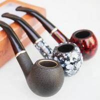 puro hediye kutuları toptan satış-Dayanıklı Reçine Sigara Borular Sigara Tütün Puro Borular için Tutucu Borular Sigara el boru Adam Taşınabilir Ipek Kova babalar günü Hediye