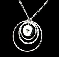 Wholesale Three Circles Pendant - 2018 New Trendy Ethnic Style Three Loop Pendant Snap Necklace Fit DIY 18MM Snap Buttons Jewlery Wholesale