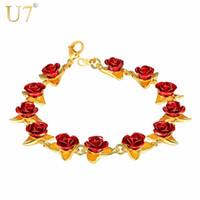 chaînes de poignet en or femme achat en gros de-U7 Bracelet Rouge Rose Fleurs Or Couleur Poignet Chaîne Charme Cadeau De Noël Pour Les Femmes Mode New Hot Bijoux Bracelets En Gros