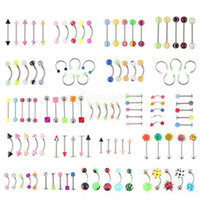Wholesale 110pcs Mixed Style Body Piercing Fashion Jewelry Eyebrow Navel Belly Tongue Lip Barbell Ring