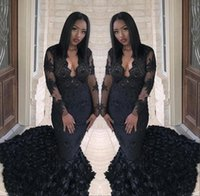 Wholesale white rose shirt girl - African Black Girl Prom Dresses 2018 Mermaid Sheer Long Sleeves Lace Evening Dresses with Rose Train Party Gowns