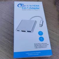 tableta puerto hdmi al por mayor-Tipo C a HDMI 3 en 1 Cable adaptador 3.0 USB 4K HDMI Multiport AV Converter 3-en-1 Puerto de recarga Switch para NES Phone Macbook Tablet nuevo