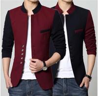 çince moda giyim toptan satış-Bahar Blazer Erkekler Çin Yaka Ceket Yaz Blazer Hommes Rahat Ceket Moda Patchwork Marka Giyim Ceket KKA4150