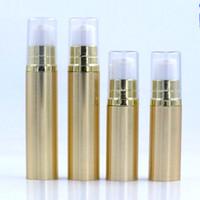 airless-serum kosmetik-flaschen großhandel-Flasche Gold / Silber Airless-Vakuumpumpe leer für Nachfüllbehälter Lotion Serum kosmetische Creme Flüssigkeit 1/6 Oz 5ML 1 / 3Oz 10ML