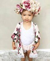 Wholesale outwear baby pink - Xmas Little Girls full flower print fringe shawl Baby ins Spring Summer outwear fashion black & pink tassel floral print Cardigan BY0088