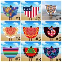 Wholesale yoga scarfs - 28 styles 150*150CM Round Beach Towel Sunscreen Imitation Silk Printing Blankets Colorful Circular Yoga Mats Bikini Scarf Beach towel GGA215