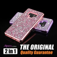 Wholesale case for note phone - Premium bling 2 in 1 Luxury Diamond Rhinestone Glitter Phone Case For iPhone X 8 7 6 Plus Samsung S9 Note 9