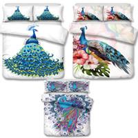 Wholesale pink striped bedding - Wholesale - 3D Art Peacock Pattern Bedding Set Queen 3pcs Duvet Covers Pillow Case Bedclothes Set