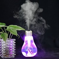 Wholesale usb freshener - 400ml USB Color Changing Bulb Air Ultrasonic Humidifier Home LED Night Light Essential Oil Diffuser Atomizer Air Freshener Mist Maker