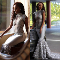 Wholesale Yellow Rose 3d - Stunning Silver 3D Rose Flowers Mermaid Prom Dresses 2018 South African Arabic High Neck Sleeveless Appliques Sequined Evening Gowns