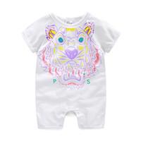 Wholesale White Overalls Baby Boy - Retail Summerborn Baby Boy Romper Short Sleeve Jumpsuit Cartoon Printed Baby Rompers Overalls Baby Clothes 3 Colors
