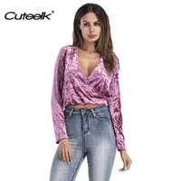 Wholesale Women Velvet Blouse - Cueelk Women Cross V-Neck Blouse Crop Top Sexy Long Sleeve Velvet Shirts Solid Color Female Casual Autumn   Spring Elegant Tops