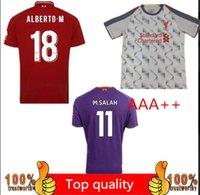 Wholesale football uk - Factory Outlets Fastest Shipment to UK! New 2019 Premier league 3rd purple L FC Mohamed Salah Steven Gerrard soccer jerseys M.Salah football