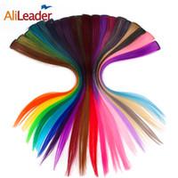 ingrosso estensioni dei capelli bionda una clip-AliLeader Made 20 colori 50CM singola clip in un unico pezzo Estensioni dei capelli Sintetica lungo rettilineo Ombre Grigio Biondo Capelli rossi Pezzi