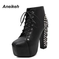 Wholesale women rivet rock shoes resale online - Aneikeh Women Rock Punk Spikes Rivets Ankle Boots Biker Lita Platform Chunky Block Ultra High Heel Bota Shoes High Top D