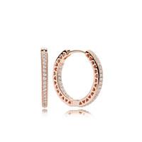 créoles en plaqué or rose achat en gros de-100% 925 argent 18 carats plaqué or rose boucle d'oreille avec clair CZ pierre boîte d'origine pour Pandora bijoux femmes cadeau de Noël