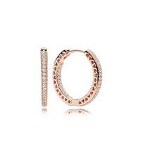 rosé vergoldeten reifen ohrringe großhandel-100% 925 Silber 18K Rose Gold Plated Hoop Ohrring mit klaren CZ Stein Original-Box für Pandora Jewelry Frauen Weihnachtsgeschenk