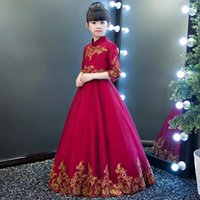 Wholesale girl with flower crown resale online - 2018 Burgundy Short Long A Line Flower Girls Dresses Gold Lace Applique Long Sleeves Girls Pageant Gown With Free Crown