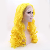 Wholesale Womens Size Small - The Avengers costume pastel wig Bright yellow heat resistant synthetic lace front orange wig cheap cosplay wigs for womens loose cury wavy