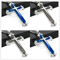 Wholesale multi layer cross necklace - fashion multi-layer cross pendant star necklace stainless steel hot sell jewelry lovers pendant R096