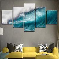 rollos de lona de aceite al por mayor-Envío gratis 5 Unidades Rolling Waves Pictures Ocean Sea Wave Paisaje marino Lienzo Modular HD Prints Carteles Home Decor Oil Living Room Canvas