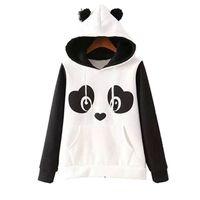 polar panda hoodie toptan satış-Sevimli Pamuk Karışımlı kadın Panda Tarzı Polar Kazak Hoodie O-Boyun Tişörtü Kapşonlu Coat Sıcak Toptan Tops