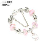 cdd119426 JEWOEY SHION Children Fashion Cartoon Jewelry Cute Hello Kitty Pendant  Crystal Exquisite DIY Pan Charm Bracelet For Women