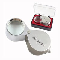 Wholesale Mini x21mm Jewelers Eye Loupes Jewelry Diamond Magnifiers Magnifying Glass Ingenious portable Loupe Magnifier Silver color with retail box